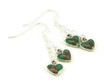 Orgone Energy Earrings - Tiny Heart and Sterling Silver Dangles with Malachite Gemstone - Positive Energy Generator - Artisan Jewelry