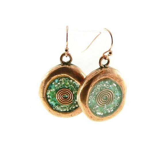 Orgon-Energie-Wachs-Siegel aussehen Ohrringe in Kupfer mit   Etsy 18c1a8263b