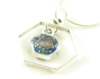 Orgone Energy Honeycomb Necklace in Antique Silver Finish with Lapis Gemstone - Framed Hexagon - Orgone Energy Necklace - Dainty Necklace