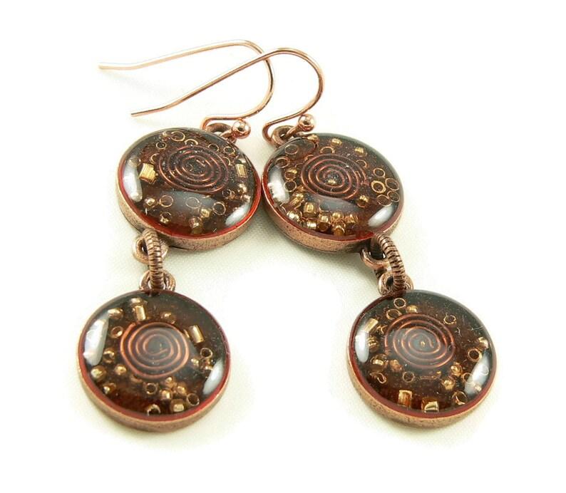 Orgone Energy Earrings  Carnelian and Copper Gemstone Dangle image 0