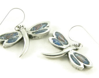 Orgone Energy Dragonfly Dangle Earrings - Choose Your Stone/Color - Sterling Silver - Orgone Energy Jewelry - Artisan Jewelry - Zen Jewelry