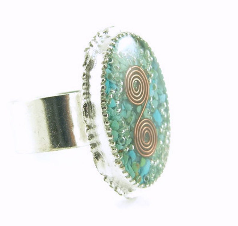 Orgone Energy Ring with Turquoise  Statement Ring  Cocktail image 0