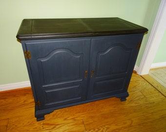 Vintage Bar Cabinet, Chalk Paint Bar Cabinet, Retro Bar Cabinet