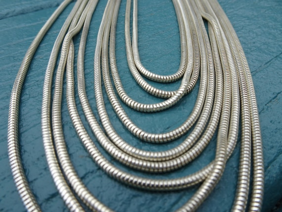 Silver Multi Strand Snake Chain Necklace