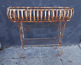 Two Tier Wire and Iron Plant Stand, Basket Plant Holder