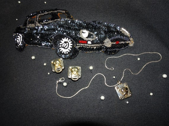 Set of Jaguar necklace and earrings, Panther Jewel