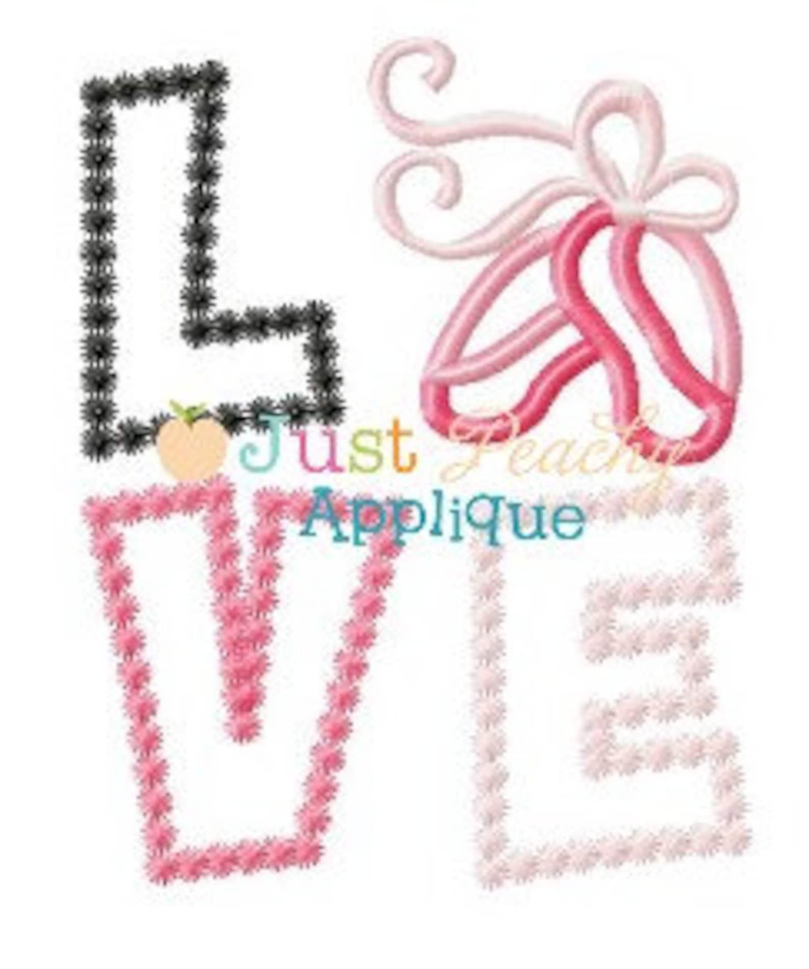 love ballet shoes machine embroidery applique design