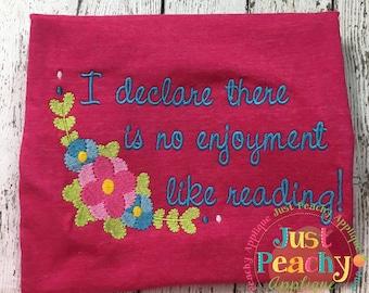 Reading Machine Embroidery Design