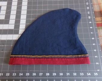 Phrygian Cap - Norman Cap - Linen - Dark Blue with Dark Red Edging and Trim  - (XL - 24