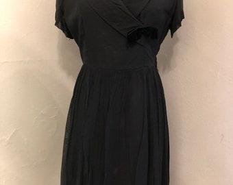 beba5cd931 Black Chiffon 1960s Cocktail Dress As Is