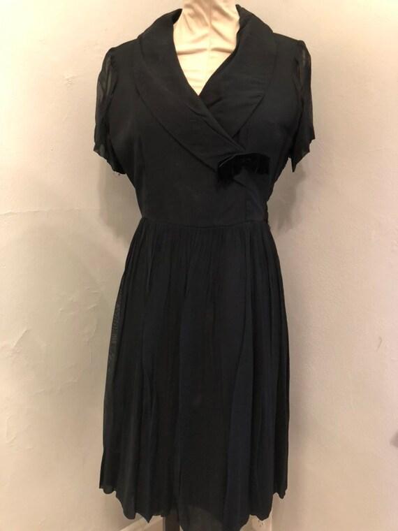 L/XL Black Chiffon 1960s Cocktail Dress As Is, Lar