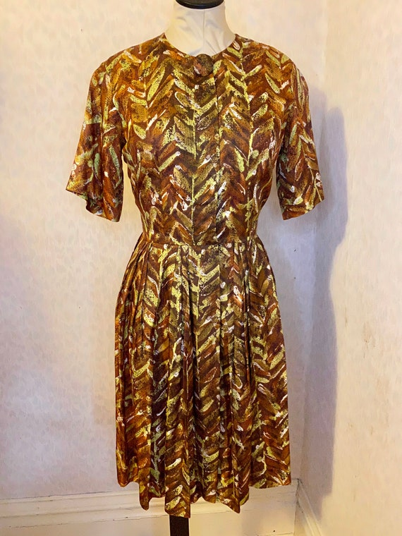 Abstract Leaf Print Acetate 1950s dress