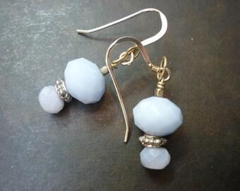 Faceted baby blue gemstone drop earrings