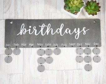 Hand Painted Wooden Birthday Calendar Wall Hanging Family Board Celebration Tracker Chart Gray