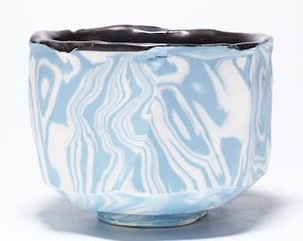 Marbled Porcelain Matcha Chawan, Ceramic Tea Bowl