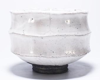 Raku Kurinuki Chawan, White Stoneware Tea Bowl