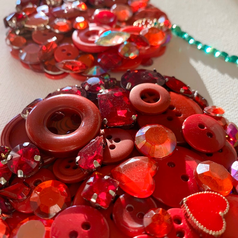 Cherries Button Art home decor made to order Valentine\u2019s Day canvas wall art gift birthday anniversary present fruit mixed media