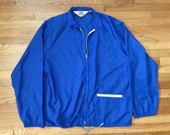 Vintage 80s Royal Blue Weeds travel Windbreaker mens Large