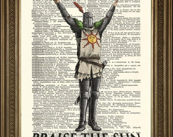 "PRAISE THE SUN: Dark Souls Art, Vintage Dictionary Page Wall Hanging Print (8 x 10"")"