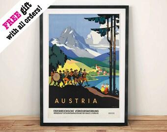 AUSTRIA TRAVEL POSTER: Vintage Alpine Mountain Advert Art Print Wall Hanging, Brown