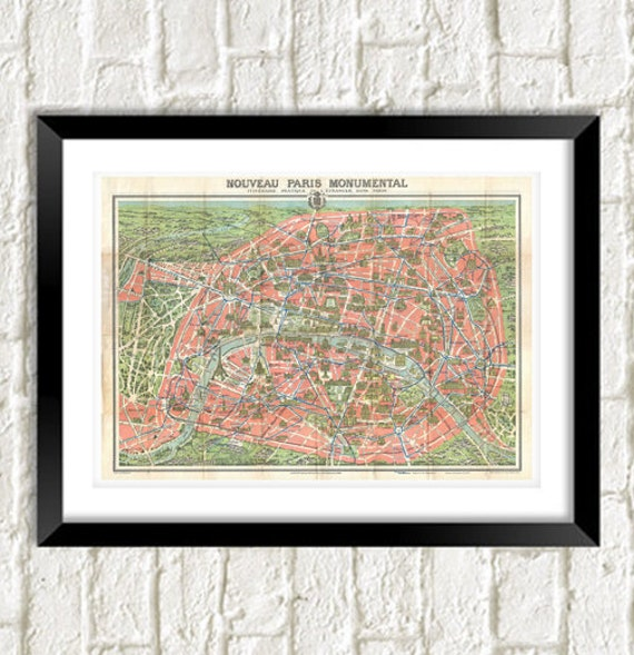 Map Of Paris Vintage Rare Map Artwork Reproduction French Etsy