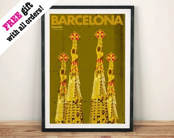 BARCELONA TRAVEL POSTER: Sagrada Familia Cathedral Advert Art, Print Wall Hanging