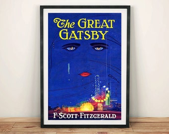GREAT GATSBY POSTER: Vintage Fitzgerald Book Cover Art Print Wall Hanging
