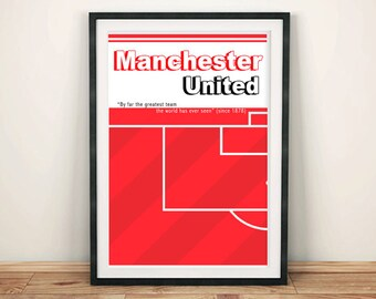 MANCHESTER UNITED POSTER: Football Fan Soccer Pitch Red Devils Art, Red Print Wall Hanging