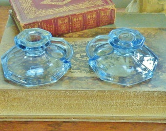 Pair art deco blue glass chamber stick candle holders