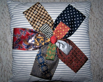 Ticking Pillow With Neck Tie Flower