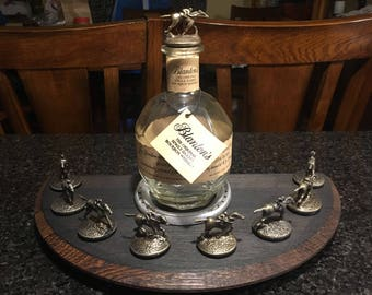 Blantons Bourbon Barrel Lid Stopper Display With Churchill Downs race Horse Horseshoe - Charred Top                       Ships 1 to 2 days