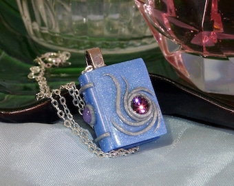 Polymer Clay Pendant Small Light Pearl Blue Miniature Book Storybook Jewellery with Silver Accents and a Purple Crystal