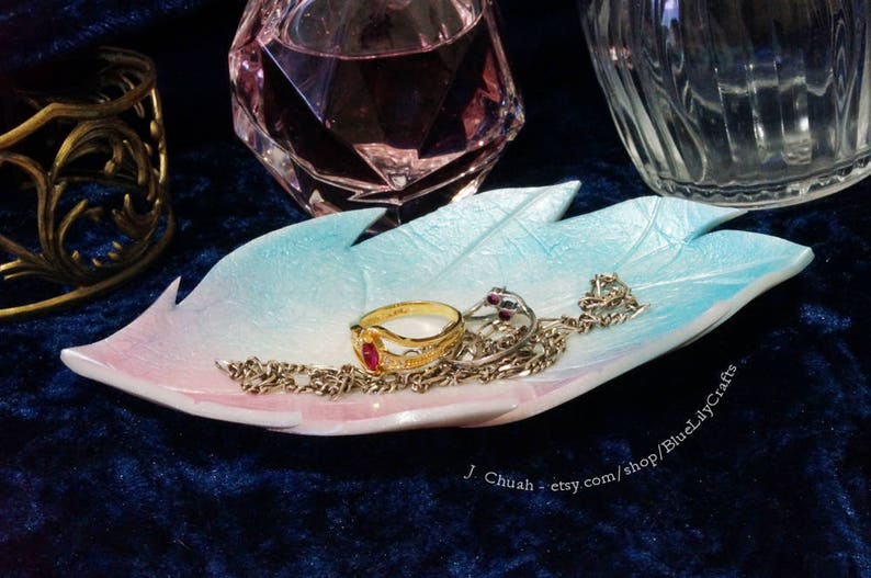 Small Leaf Jewellery Dish Decorative Plate Ring Holder made with Pink and Blue Pearl Effect Polymer Clay