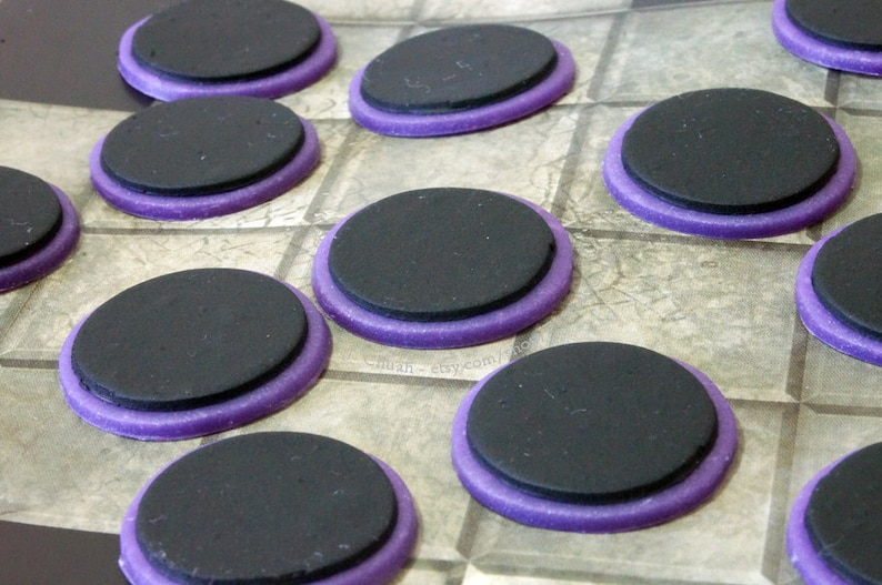 Lot of 12 Purple Coloured Rim Black Tabletop RPG Wargaming Miniature Bases  Board Game Mini Parts 1in 25mm