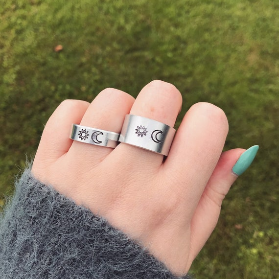 Sun And Crescent Moon Ring Silver Band Handmade Stamped Thick Etsy