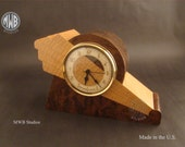 Clock, Art Deco Motif with Wood Dial. Walnut Burl MC44 . Free Shipping within the U.S.