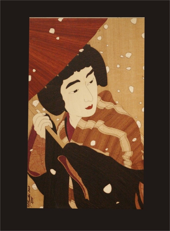 Wall Decor, Japanese Woodblock Inlay