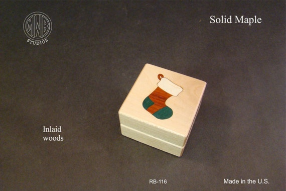 Ring Box, Inlaid with Christmas Stocking. Free Shipping and Engraving. RB-116