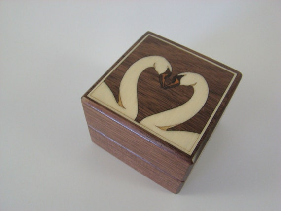 Ring Box with Inlaid White Swans. Free Shipping and Engraving. RB-35