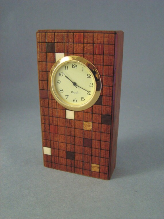Clock of Bubinga with Inlaid Squares. MDC-5 Free Shipping within the U.S.