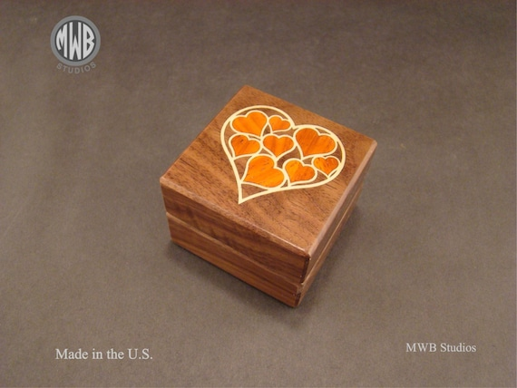 Ring Box with Inlaid Hearts. Free Shipping and Engraving. RB-70