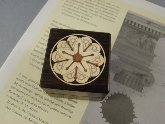 Ring Box of Wenge with Inlaid Architectural Rosette. Free Shipping and Engraving.