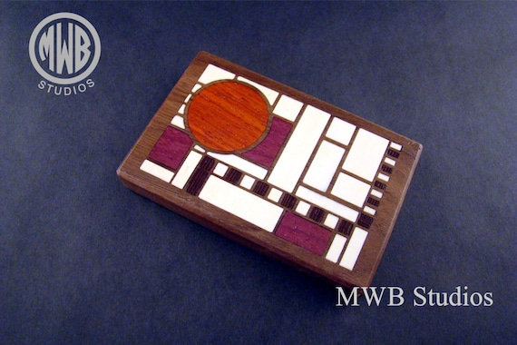 Inlaid Business Card Holder  BCH4  Art Deco.  Free Shipping and Engraving