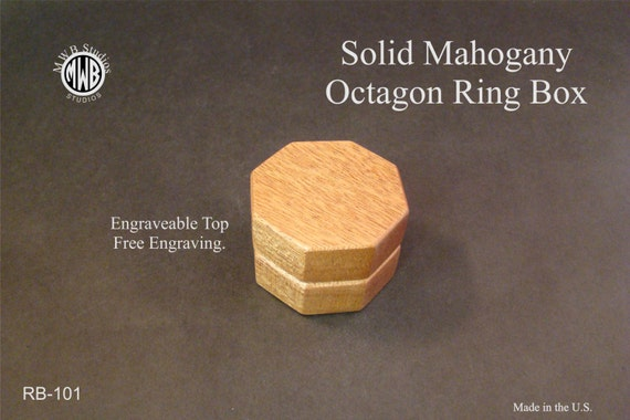 Ring Box Octagon Shape. Free Shipping and Engraving. RB-101