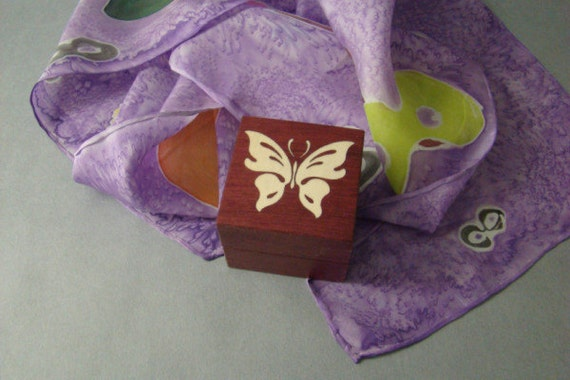 Ring box with Inlaid Butterflies. Free Shipping and Engraving. RB-13