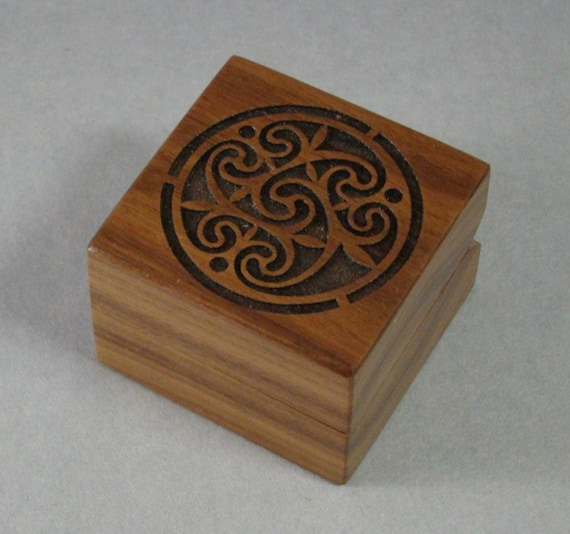 Ring Box of Solid Walnut with Laser Engraved Celtic Design. Free Shipping and Engraving. RB-14