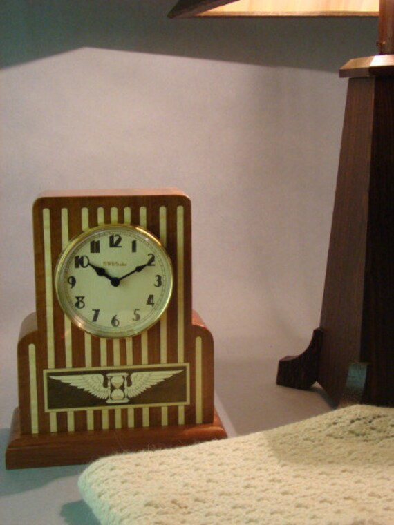 Clock, Art Deco Desk or Mantle Clock with Winged Hourglass. MC46 Free Engraving, Free Shipping within the U.S.