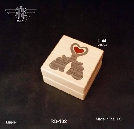 Ring Box with Inlaid Elephants. Free Engraving and Free Shipping. RB-132