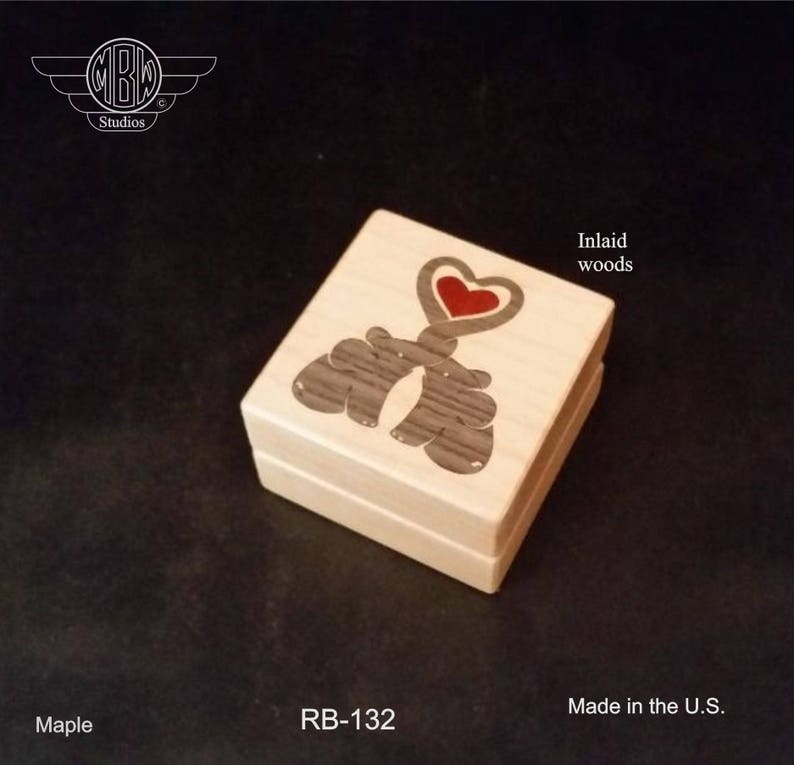 Ring Box with Inlaid Elephants. Free Engraving and Free image 0