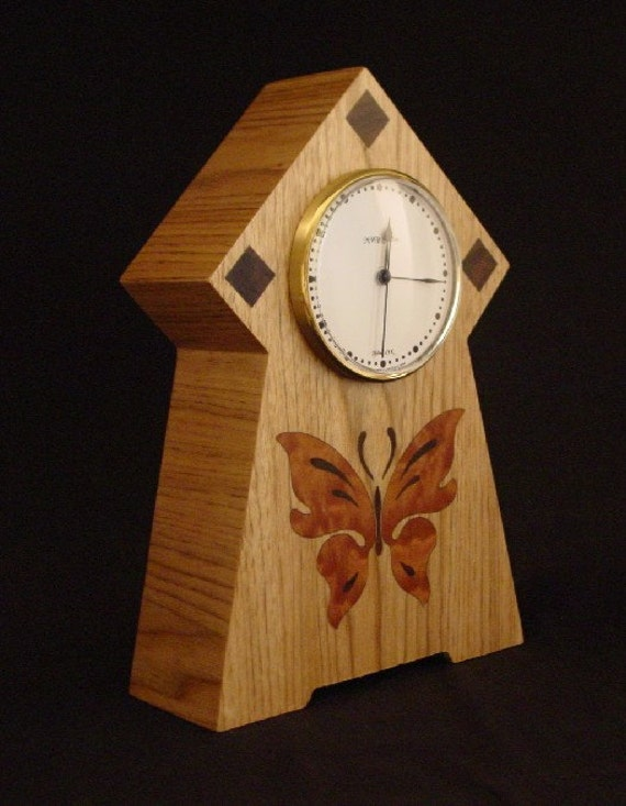 Clock, with Butterfly Inlay. MC19 Free Engraving, Free Shipping within the U.S.